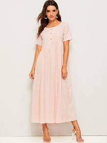 Solid Button Front Longline Dress
