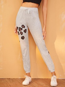Cartoon Print Drawstring Pants