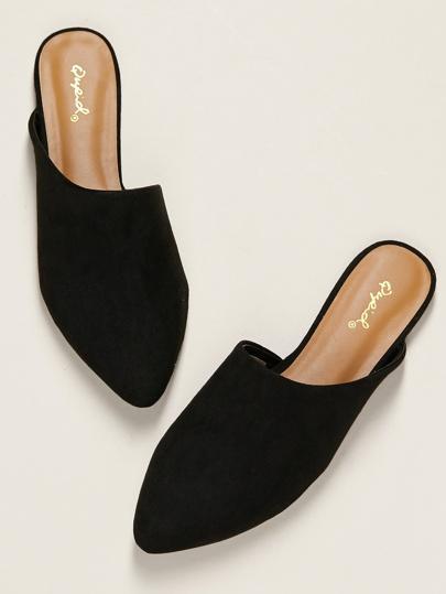 22eff7120 Closed Pointed Toe Open Heel Flat Slide Mules