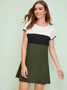 Keyhole Back Colorblock Dress