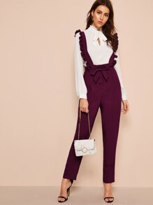 Tie Waist Pants With Ruffle Straps