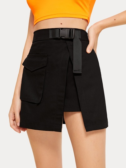 Pocket Detail Wrap Skirt
