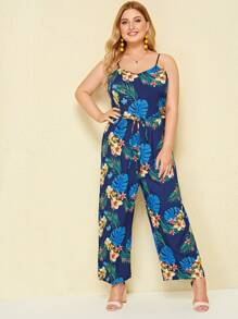 Plus Tropical Print Belted Cami Jumpsuit