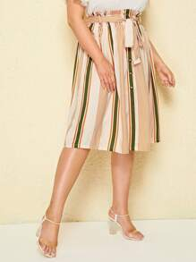Plus Button Front Stripe Belted Skirt