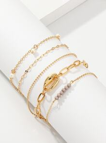 Shell & Faux Pearl Detail Chain Bracelet 5pcs