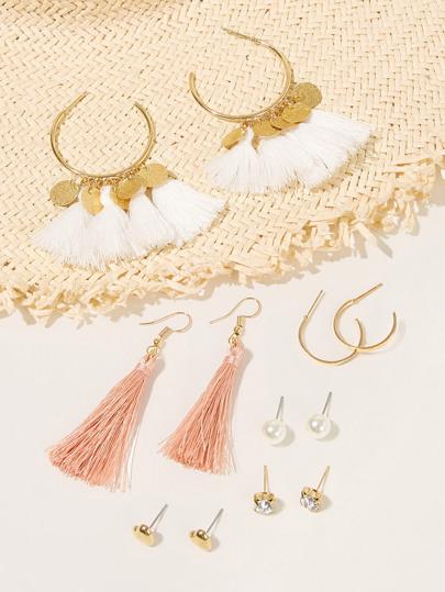 e259039788a59b Tassel & Faux Pearl Detail Earring Set 6pairs