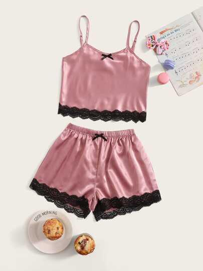 9c53e766d Girls Lace Trim Satin Cami Pyjama Set