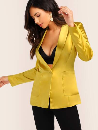 2b03bc72cf Single Button Shawl Collar Satin Boyfriend Blazer