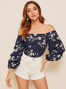 Floral Print Off Shoulder Blouse