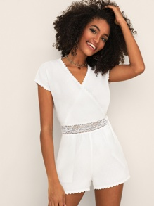 Lace Insert Surplice Front Solid Romper