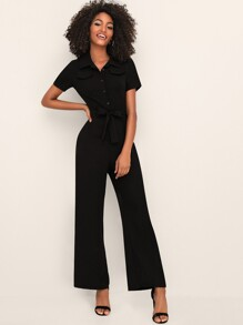 Button Front Self Tie Solid Jumpsuit