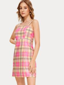 Plaid High Waist Cami Dress