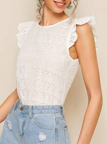 Eyelet Embroidery Frill Trim Blouse