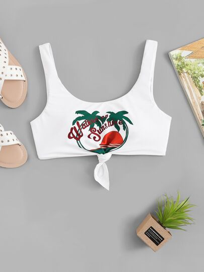 Cartoon Print Knot Swimming Top