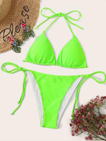 dc671126d0 Neon Lime Triangle Top With Tie Side Bikini