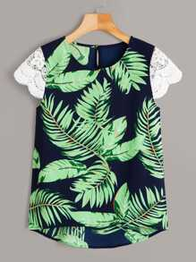 High Low Palm Tree Print Contrast Lace Blouse