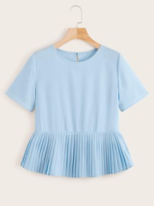Pleated Hem Button Back Blouse