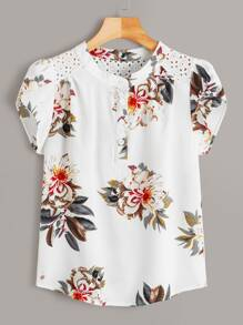Eyelet Embroidered Floral Print Blouse