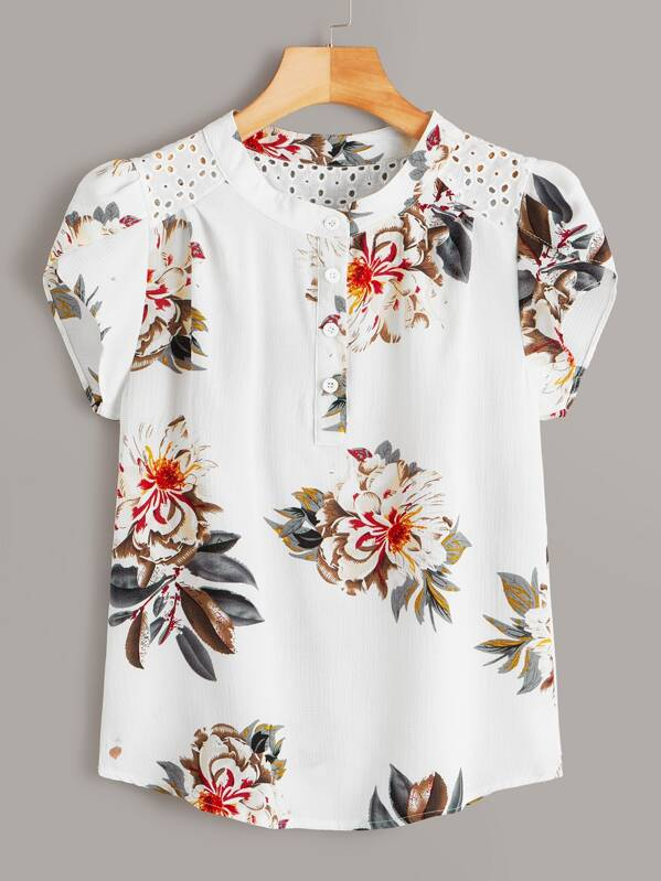 b14a7347bd8 Eyelet Embroidered Floral Print Blouse | SHEIN