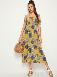 Off Shoulder Frill Shirred Tropical Print Dress
