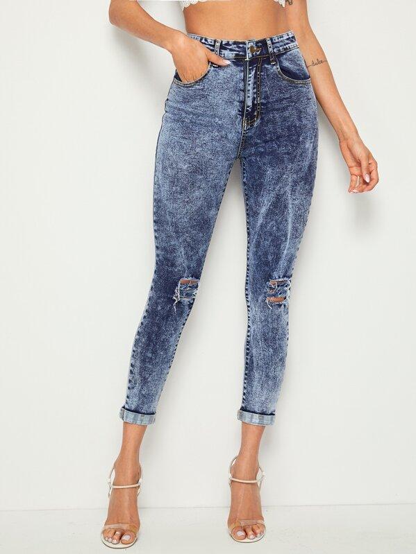 c9ae472974 Ripped Cuffed Hem Flakes Skinny Jeans