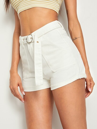 880b87e91fbe Buckle Belted Cuffed Hem Denim Shorts