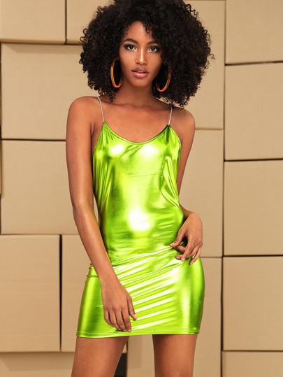 989fe5bb488e Neon Green Bodycon Metallic Slip Dress