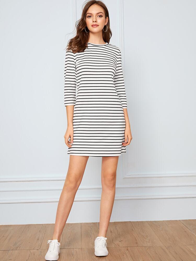 Black /& White Horizontal Stripes Sleeveless Short Sleeve Dress Size XS-5XL Plus