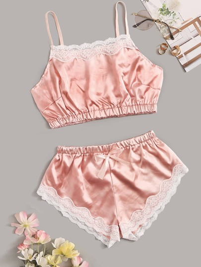 0aed7425ae7 Floral Lace Satin Lingerie Set