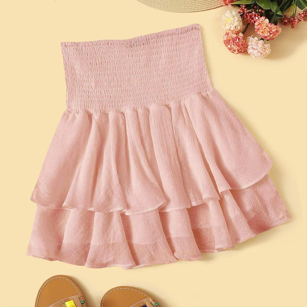 Однотонная юбка с многослойными оборками