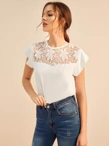 Lace Panel Button Keyhole Blouse