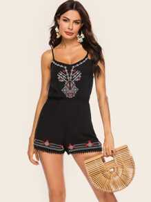 Tribal Embroidery Lace Panel Cami Playsuit