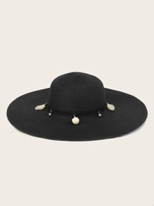 Ball & Bow Knot Decor Floppy Hat