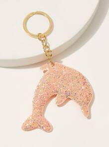 Sequin Decor Dolphin Shaped Keychain