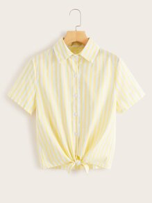 Striped Collar Knot Hem Blouse