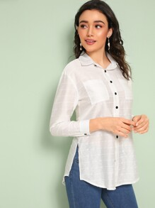 Double Pocket Button Split Side Blouse