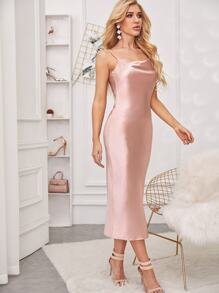Satin Split Back Cami Dress