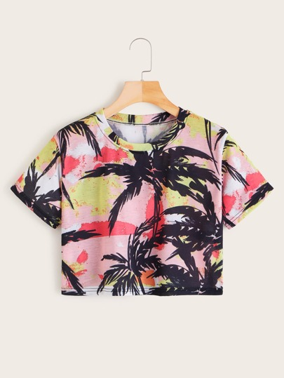 Women's Clothing New Pink Women Cute Letter Angel Print Cartoon Short Sleeve Pullover Shirt Crop Cami Beach Basic Tops