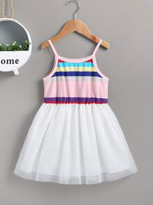 Toddler Girls Colorful Striped Contrast Mesh Hem Cami Dress