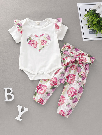 447c168714f9 Baby Girl Floral Print Romper With Belted Trousers