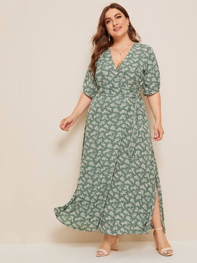 f0bd8f4692 Plus Ditsy Floral Knot Side Wrap Maxi Dress