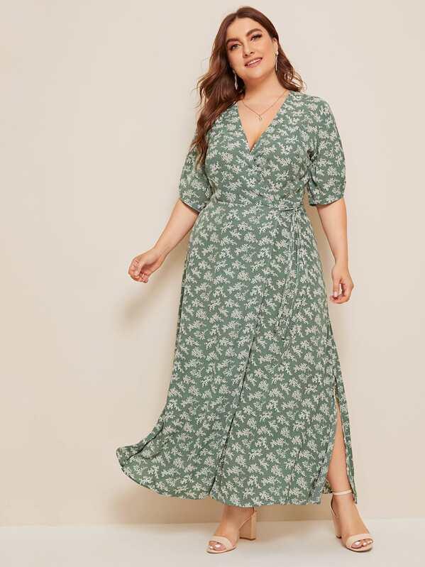 c76ed0d437 Plus Ditsy Floral Knot Side Wrap Maxi Dress   SHEIN