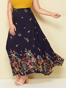 Plus Ditsy Floral High Waist Maxi Skirt