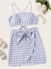 Gingham Lace Up Cami Top With Tie Front Wrap Skirt