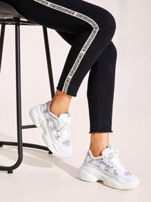 Floral Applique Chunky Sole Trainers