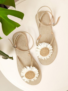 Floral Decor Toe Post Sandals