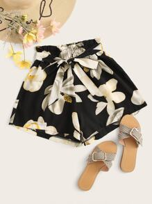 Floral Print Self Tie Paperbag Shorts