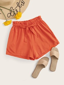 Neon Orange Frill Waist Drawstring Shorts