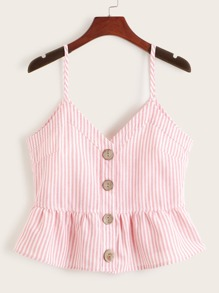 Button Front Peplum Stripe Cami Top