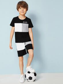 Boys Mixed Print Colorblock Top and Shorts Set